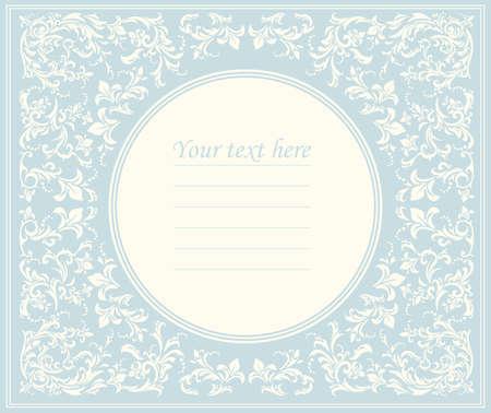 Bella cornice rotonda con ornamento classico può essere utilizzato per il biglietto di auguri, la doccia per bambini o l'invito di nozze, copertina e più disegni.
