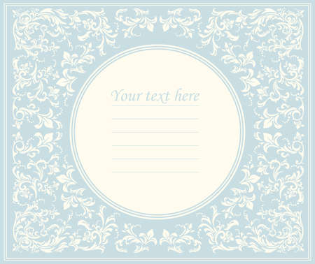 Beautiful round frame with classic ornament can be used for greeting card, baby shower or wedding invitation, cover and more designs. Vettoriali
