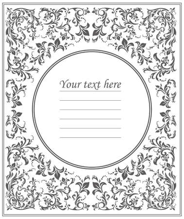 used ornament: Beautiful round frame with vintage floral ornament can be used for wedding invitation, greeting card , baby shower and more designs. Illustration