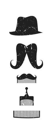 style goatee: Icon set of vector mustache, hat and combs for your creative designs.