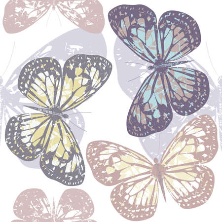 textile industry: Seamless pattern with cute colorful butterflies isolated on white background can be used for background, surface textures, textile industry and wrapping.