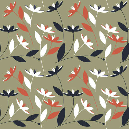 linens: Seamless pattern with decorative colorful flowers isolated on green background can be used for design fabric, textile, linens and more designs.