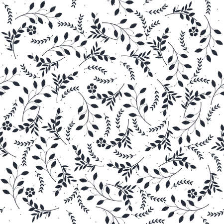 branches with leaves: Seamless pattern with different silhouettes of branches, leaves and flowers isolated on white background. Vector image.