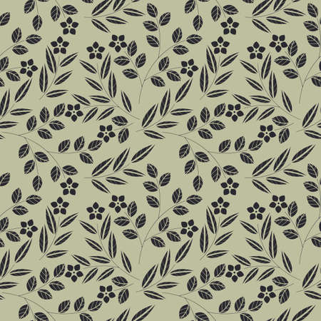linens: Seamless pattern with flowers and leaves isolated on green background  can be used for design fabric, linens, kids clothes, greeting cards and more creative designs. Illustration
