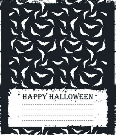 background designs: Stylish card with flying bats silhouettes isolated on black background for your creative designs. Illustration