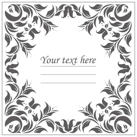 Vintage circle frame with floral ornament can be used for greeting cards, invitations, covers and more designs.