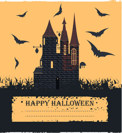 flying bats: Stylish halloween card with witch castle, flying bats and cat isolated on orange background can be used for greeting cards and more creative designs.