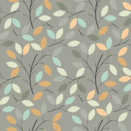 linen texture: Seamless pattern with decorative leaves can be used for design fabric, backgrounds, wrapping paper. Illustration
