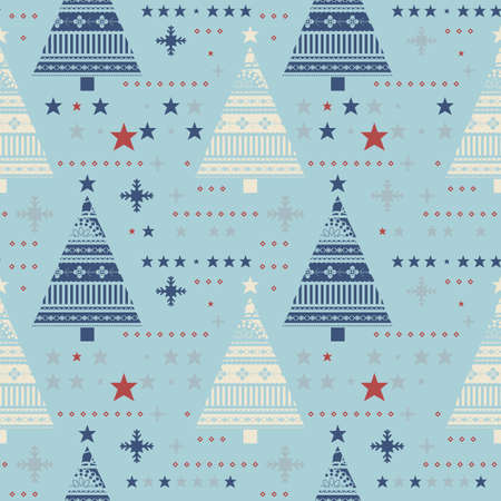 gift paper: Cute seamless pattern with stars, christmas trees, snowflakes.  Happy New Year background. Vector design for winter holidays. Illustration