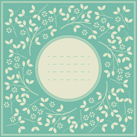 twigs: Frame with decorative flowers and leaves isolated on light blue background. Image can be used for greeting cards, anniversary, invitations, covers and more creative designs. Illustration