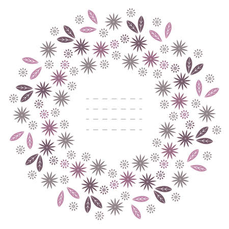 Spring round frame with leaves and flowers isolated on white background. Cute  frame can be used for greeting cards, covers, invitations and more designs.