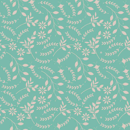 Spring seamless pattern with plants and flowers can be used for surface textures, textile, linen, tile, kids cloth, pattern fills, page backgrounds and more creative designs. Vector Illustration