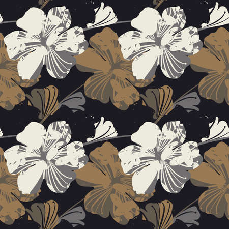 Elegant seamless pattern with abstract flowers can be used for design fabric, backgrounds, wrapping paper, package, covers, linen and more ideas.