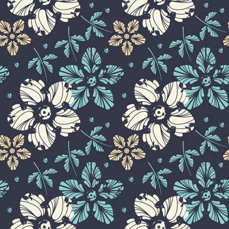 Elegantes endloses Blumenmuster. Vorlage kann für Leinen, Fliesen, Designstoff, Webseiten, Cover und andere kreative Ideen verwendet werden. Vektorgrafik