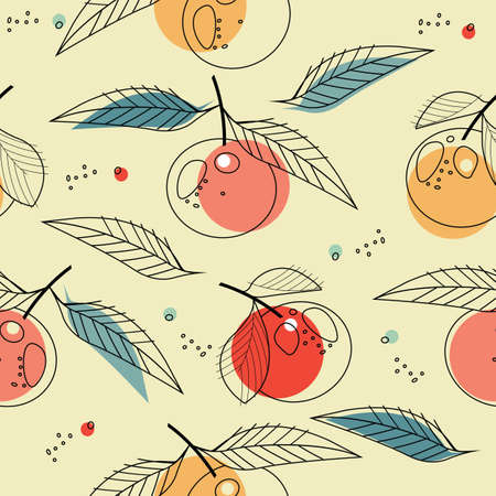 A Seamless pattern with tangerines isolated on ivory background. Perfect for wallpapers, web page backgrounds, surface textures, textile. Ilustração