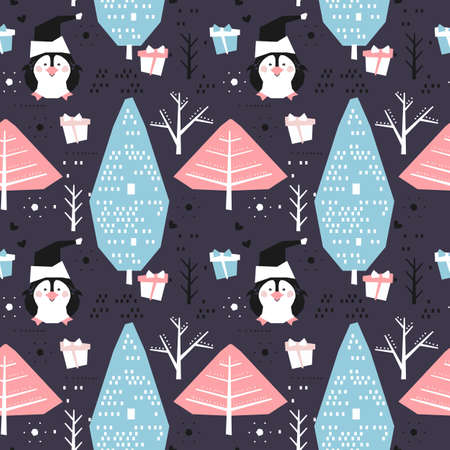 Winter seamless pattern with cartoon penguins. Merry Christmas and happy New Year background.