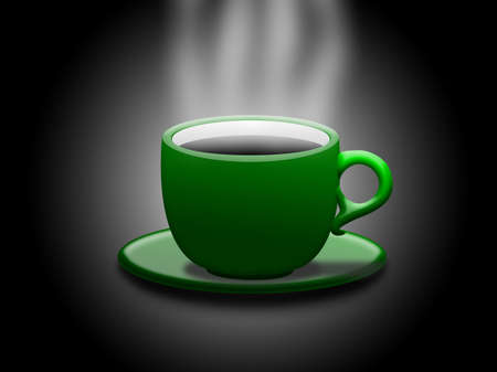 chinaware: a green cup with hot coffee Stock Photo