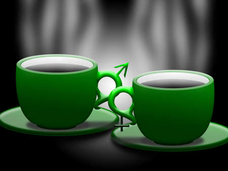 green cups with hot coffee