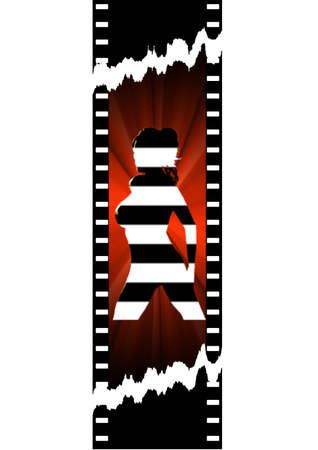movie pelicula: pel�cula de cine con la mujer silueta
