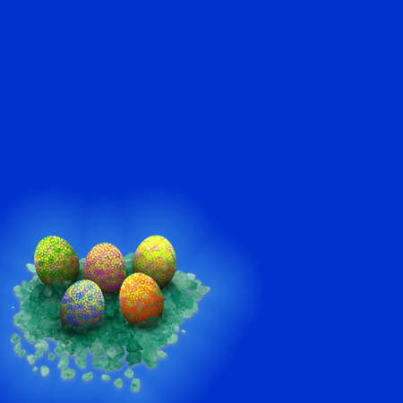 easter eggs set on crystals with blue background
