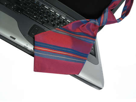 laptop with a business tie