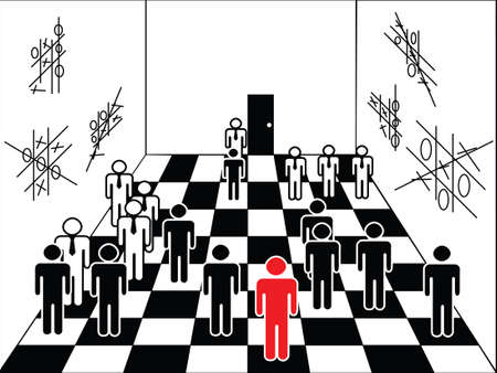 chessboard with figures of businessmen, playing the corporate game in an improvised hall