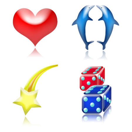 glossy good luck charm icons