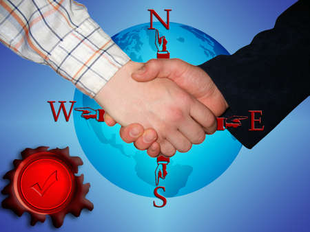 handshake for global partnership and a wax seal for quality