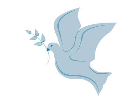 paloma de la paz: paloma de la paz la celebraci�n de una ramita de olivo simboliza la paz mundial  Vectores