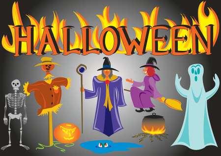 halloween characters isolated