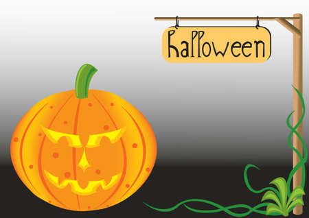 halloween pumpkin isolated and sign Vector