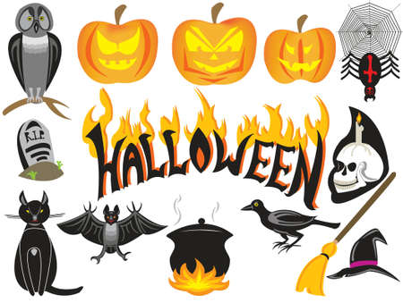halloween symbols isolated over white
