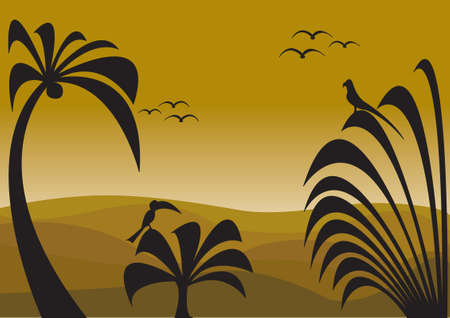 jungle sunset with silhouettes of palms and birds Illustration