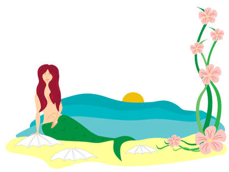 flowered: mermaid on a beach with a pink flowered plant