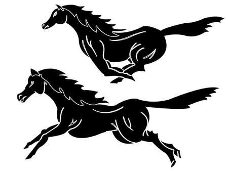 horses running wild Vector