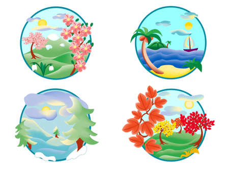 four seasons represented as icons and isolated over white Vector