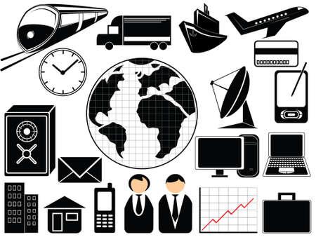 man on cell phone: De negocios y el transporte iconos
