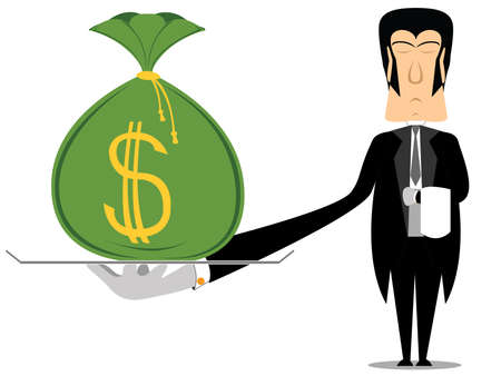 butler holding a tray with a bag of money Stock Vector - 2404492