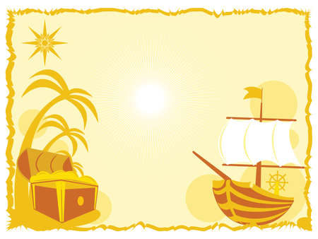background with treasure and ship Vector