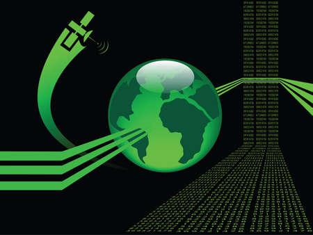 abstrait arrière-plan vert brillant avec globe