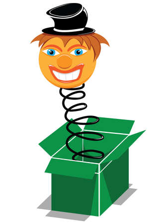 spring out: presente caja sorpresa con payaso sonriente  Vectores