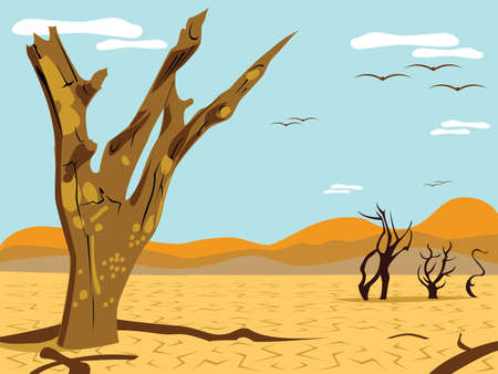 desert landscape: desert tree landscape Illustration