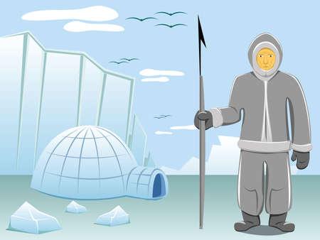 Eskimo en arctische landschap  Vector Illustratie