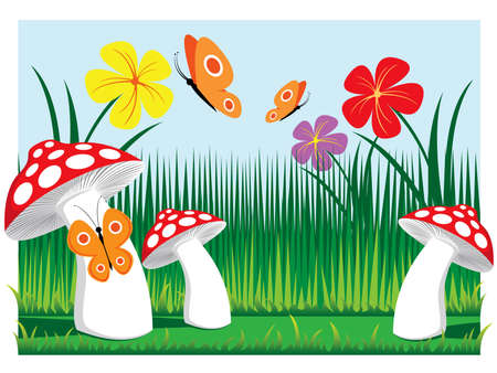 meadow mushrooms with butterflies and flowers vector illustration