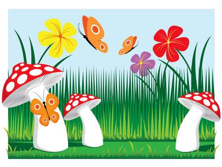 prado setas con mariposas y flores ilustración vectorial