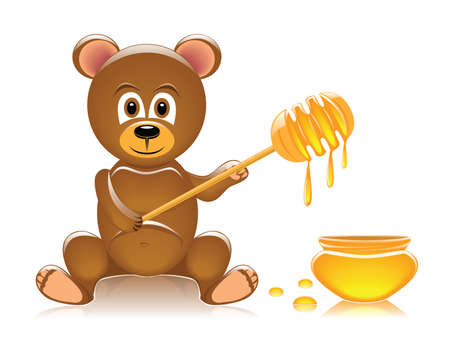 glossy teddy bear and honey Illustration