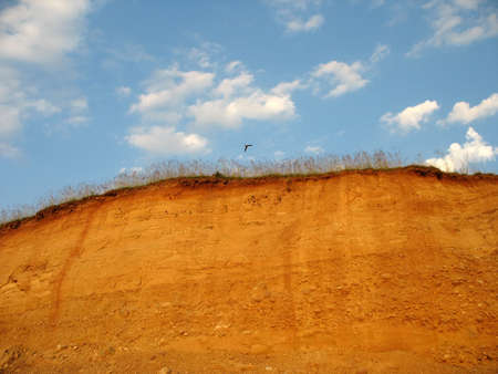clay hill scenery after erosion and excavation