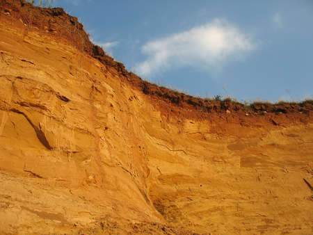 earthwork: clay hill scenery after erosion and excavation