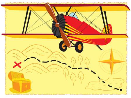 retro airplane over old treasure map Illustration