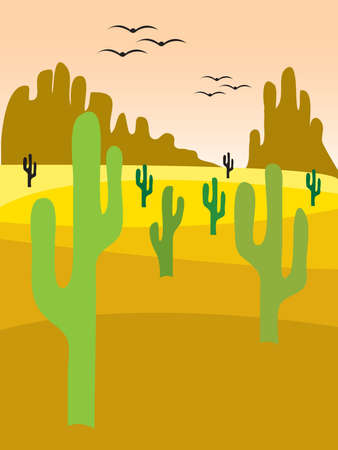 illustration of a desert landscape with cactus Stock Vector - 4141512